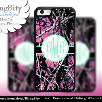Camo Mint Monogram iPhone 5C 6 Plus Case iPhone 5s 4 case Ipod muddy Realtree Personalized Cover Country Inspired Girl