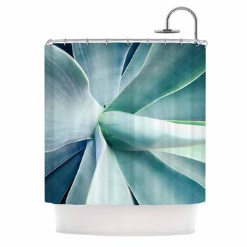 Succulant - Green Teal Nature Photography Shower Curtain