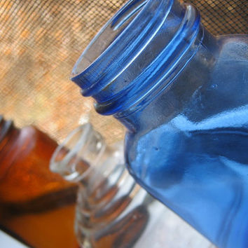 Vintage Bottle Collection Blue,Amber,& Clear glass