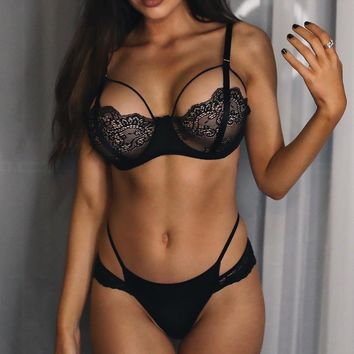Sexy Cute Hot Deal On Sale Lace Patchwork Ladies Set Exotic Lingerie [521665642511]