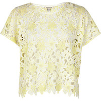 River Island Womens Yellow cut out floral lace cropped t-shirt