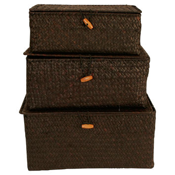 Trunks, Espresso, Set of 3, Storage Boxes & Bins