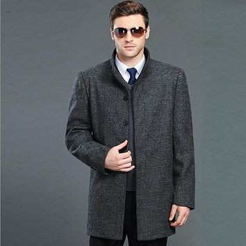 men woolen jacket Fashion and high-end classic business mens cashmere pea coat Leisure size overcoat cashmere