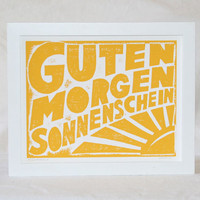 14x11 Guten Morgen Sonnenschein German Good Morning Sunshine Typography Kitchen Art Print  Baby Nursery Decor