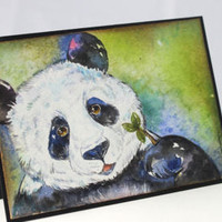 Original Handpainted, Watercolor Card, NOT A PRINT, With Love, Painting of a Panda, Art, Panda, Greeting Card, Original Painted Card.