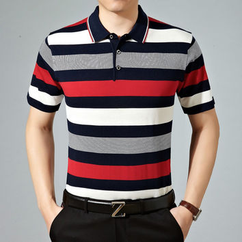 Summer Casual Stripes Knit Men Short Sleeve T-shirts [6544138051]