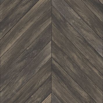 Chevron Wood Plank Parisian Espresso Parquet Wallpaper