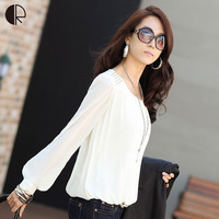 Korean long-sleeved blouses Puff summer white chiffon shirt loose large size primer shirt White Black WT018