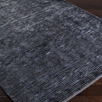 Surya Gaia GAI1005 Black/Blue Solids and Borders Area Rug