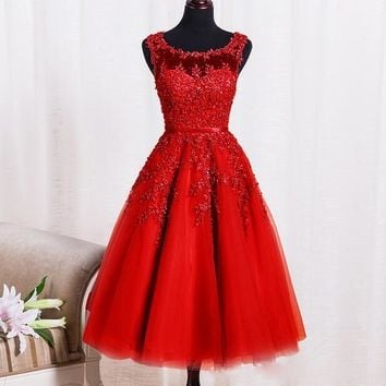 Red Pearl Lace Homecoming Dress Free fast shipping
