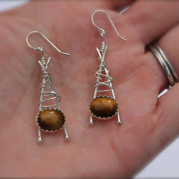 Fall color. Tiger Eye stone earrings. Sterling silver. Abstract design. Long earring. OOAK