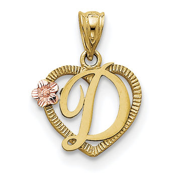 14k Two-Tone Initial D in Heart Charm D898D