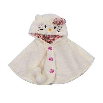 Infant Toddler Kids Baby Girls Cat Hooded Cloak Poncho Jacket Outwear Warm Coat Clothes Cute Snowsuit