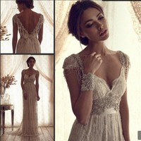 2014 Lace white /ivory wedding dress custom size 2-4-6-8-10-12-14-16-18-20-22+++