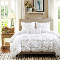 Kara Ruched White Cloud 4 PC Reversible Comforter SET
