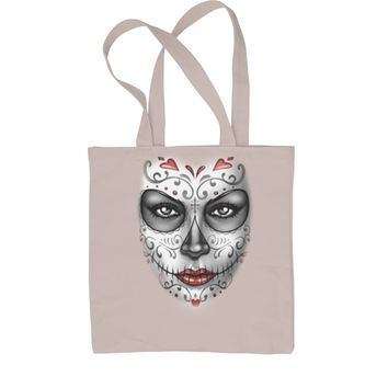 Large Day Of The Dead Face Shopping Tote Bag