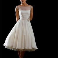 Bateau Tea Length Silk Satin/ Silk Georgette Wedding Dress Style Sophie