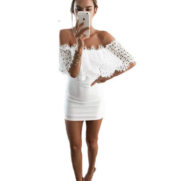 Slash Neck Lace Dress 2016Women Off Shoulder Bandage Dress Elegant Summer White Bodycon Dresses Sexy Party Night Club Mini Dress