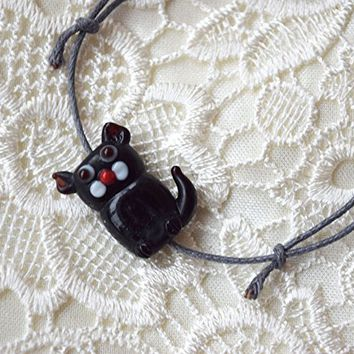 Black cat bracelet cord friendship lampwork glass bead