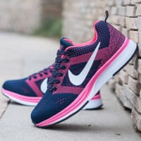 """NIKE"" Trending Fashion Casual Sports Shoes Dots Lace up Blue pink"
