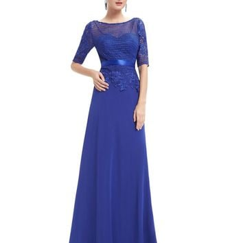 Evening Dresses Ever Pretty HE08706SB Women Elegant Royal Blue Round Neck Weddings Events Half  Sleeve Long Evening Dresses