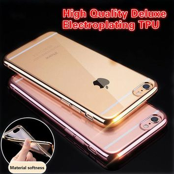 DKF4S Ultra Thin Plating Crystal Clear Case For iphone 5s se 6 6s plus Case For iphone7 7 Plus Phone Cases Transparent Soft TPU