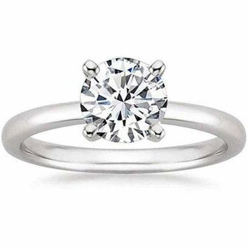 1/2 Carat Gia Certified Diamond Engagement Ring 0.44 Ct VS2 I 4 Prong 14K White Gold by Luxinelle® Jewelry
