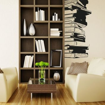 Stack of Library Books Vinyl Wall Decal. Home Decor. #5062