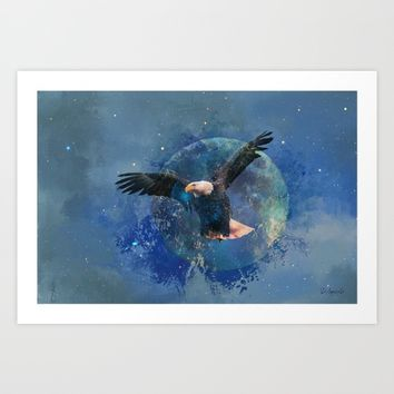 Eagle Moon Art Print by Theresa Campbell D'August Art
