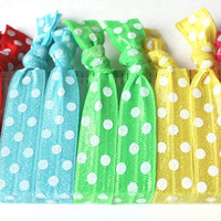 Printed Hair Ties (10) No Crease Ribbon Hair Ties - Emi Jay Like Yoga Hair Bands - Stretchy Hair Accessories - Polka Dot Ponytails