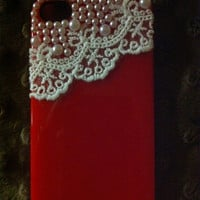 Lace and pearls iPhone 4 case in red