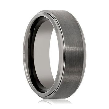 Stepped Edges Brushed Gun Metal Center Tungsten Wedding Band For Men 8mm