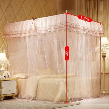 1.5 m 4 Posters Pink Bed Canopy Princess Queen Single Mosquito Bedding Net Bed Tent Four Corners Curtain