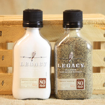 Salt & Pepper Shakers Upcycled from Legacy Blended Canadian Whisky Mini Liquor Bottles, Mini Liquor Bottle Shaker Set