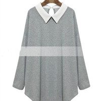 Solid Color Collared Sweater