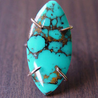 Marquise Turquoise Gold Ring ,OOAK, Gemstone Ring