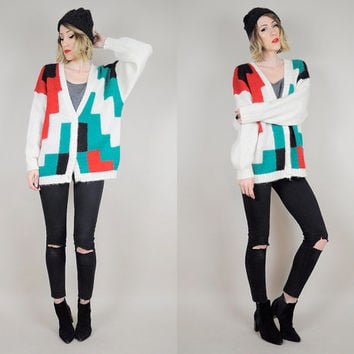 MOHAIR Oversized GEOMETRIC Cubist Slouchy CARDIGAN Abstract sweater Fuzzy Cozy knit Grandpa 80's jumper Boyfriend os