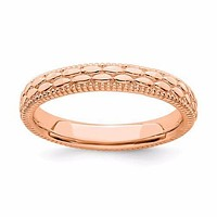 Rose Gold Over Sterling Silver Stackable Expressions Patterned Ring