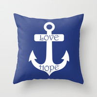 Love Hope Anchor Sea Slate Navy Blue Throw Pillow by BeautifulHomes | Society6