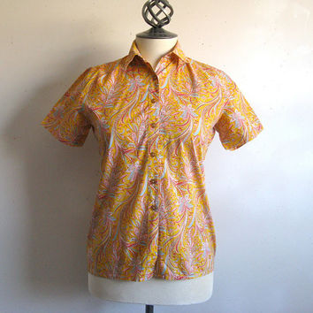Vintage 1980s Shirt Liberty of London Orange Short Sleeve Floral Cotton Summer Blouse 8 Small
