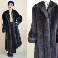 80s Clothing Faux Fur Coat Vintage Long Fur Coat Black Fur Coat Warm Coat Winter Coat Long Faux Fur Coat Black Faux Fur Coat Size Large