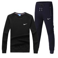 NIKE New fashion hook print sports leisure long sleeve top and pants two piece suit Black