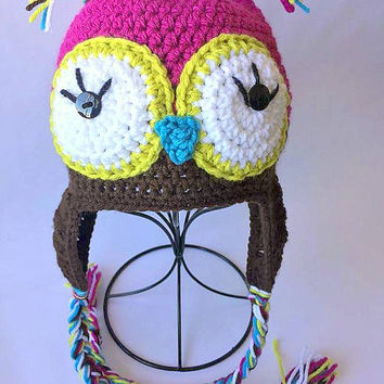 Crochet Owl Hat, Crochet Owl Beanie, Pink and Brown owl beanie, Newborn owl hat, Newborn owl beanie, Photo Prop, Crochet photo prop, Beanie