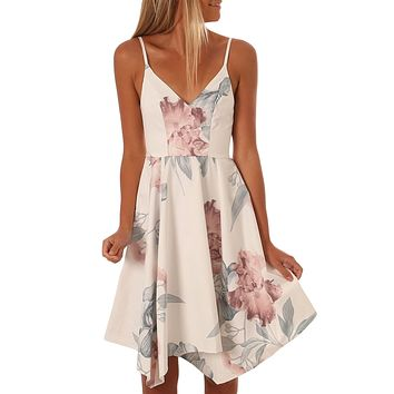 White Floral Print Asymmetric Hem Sway Dress