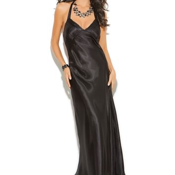 Charmeuse Satin Halter Neck Gown (Small,Black)