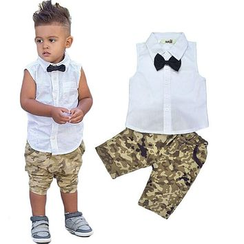 Boys Suit Shirt T-shirt + Pants sleeveless bow  camouflage pants suit