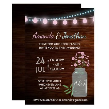 Pink and blue cosmos rustic Wedding add photo Card