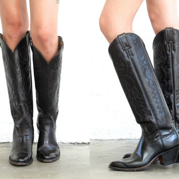Vintage LEATHER Western Tall Black COWBOY Boots // Knee High // Southwestern Hipster Boho Gypsy Biker // Women's US 7.5 / 8