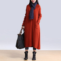Fashion Women Red Cotton Thick Coat Long Sleeve Autumn Dress Pullover Loose Fit Sweater Plus Size Clothing Dress(222)