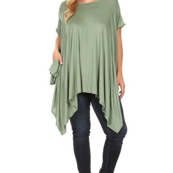 Solid Jersey Knit Tunic Top with Boat Neckline - Sage